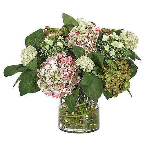 "21"" Hydrangeas in Cylinder Vase, Faux"
