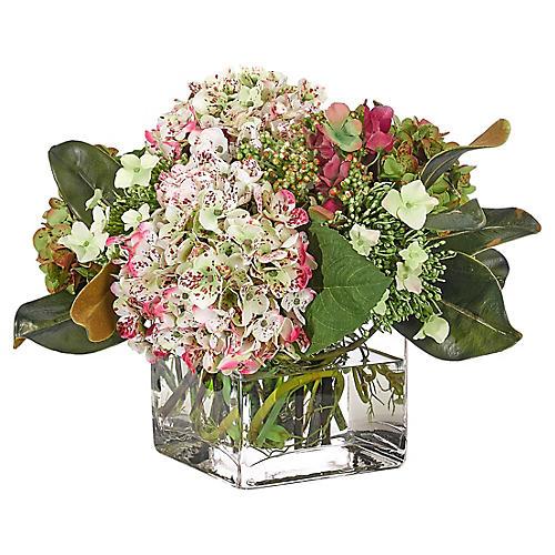 """17"""" Hydrangea in Cube Vase, Faux"""