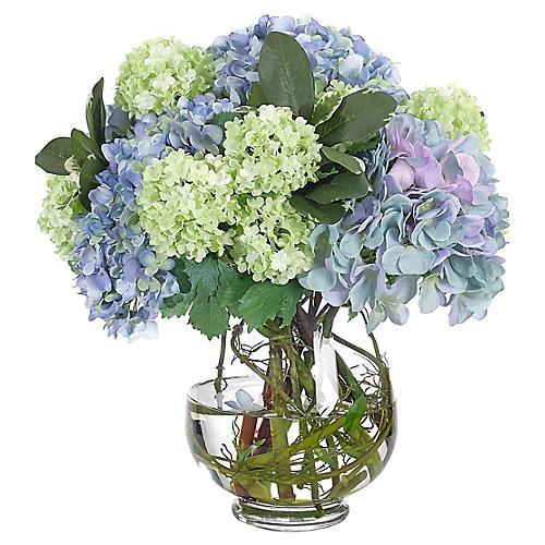 "16"" Hydrangea Snowball in Vase, Faux"