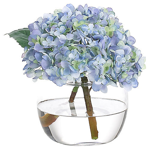 "10"" Hydrangea in Bubble Vase, Faux"