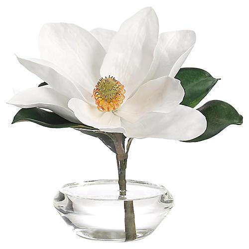 "10"" Magnolia in Bubble Vase, Faux"