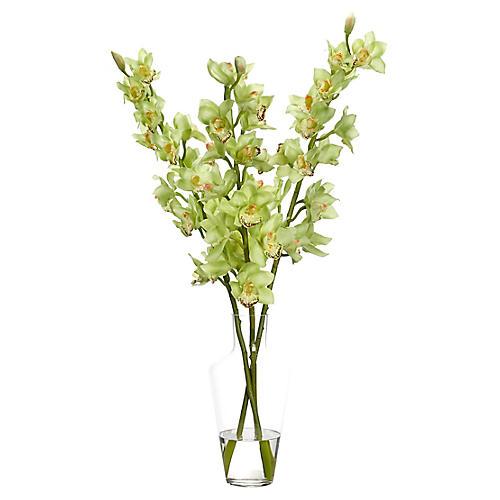 """24"""" Cymbidium Orchid in Vase, Faux"""