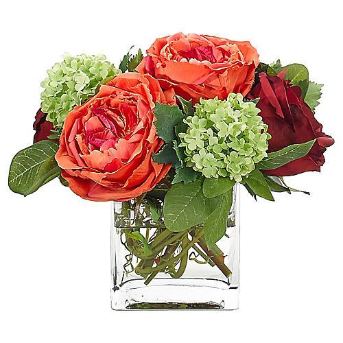 "11"" Rose in Cube Vase"
