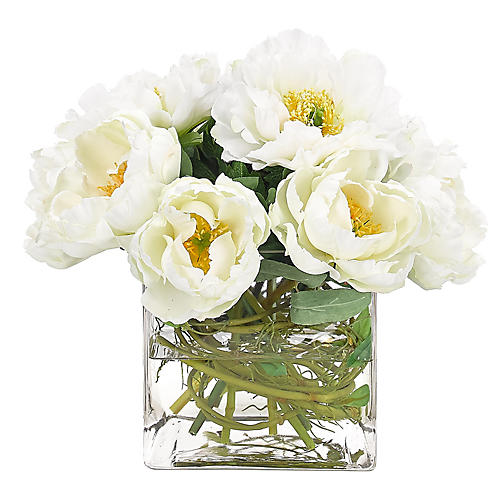 """11"""" Peony in Cube Vase, Faux"""