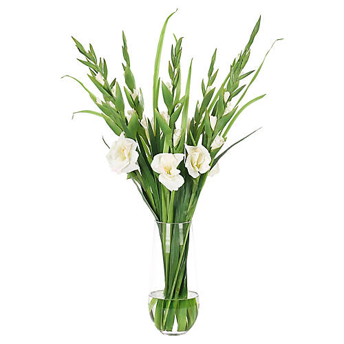 """19"""" Gladiola in Tapered Cylinder, Faux"""