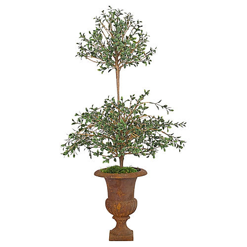 """13"""" Cotoneaster in Iron Urn, Faux"""