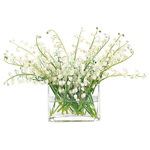 "14"" Lily of the Valley in Rectangle Vase, Faux"