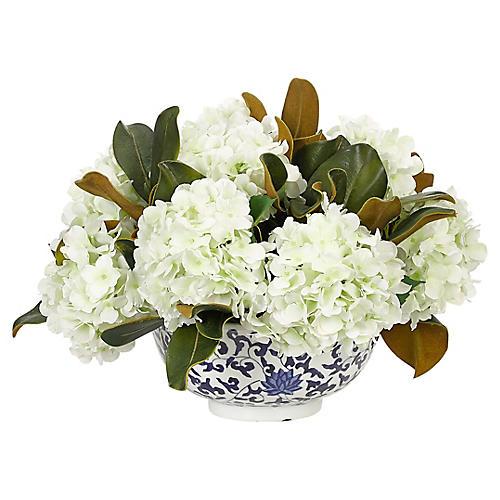 """19"""" Hydrangea in Porcelain Bowl, Faux"""