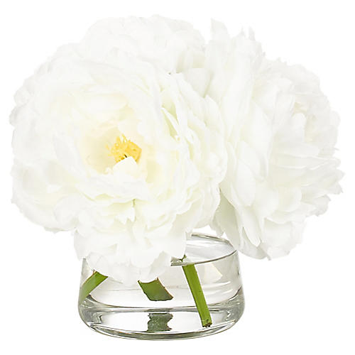 """7"""" Peony in Pyramid Vase, Faux"""