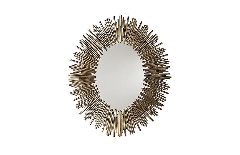 Prescott Oval Wall Mirror, Antiqued Gold Leaf