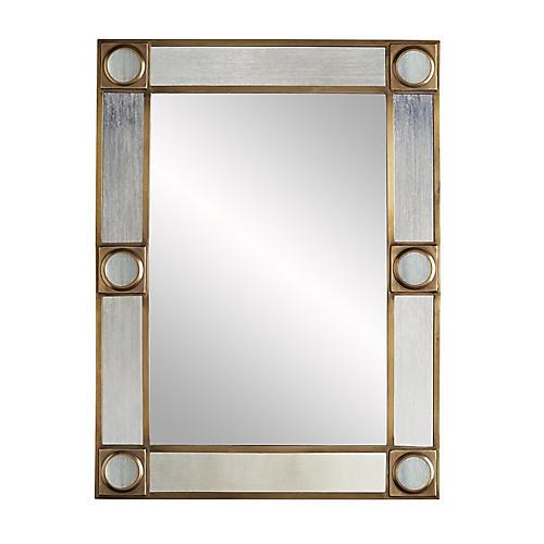 Baldwin Wall Mirror, Antiqued Brass