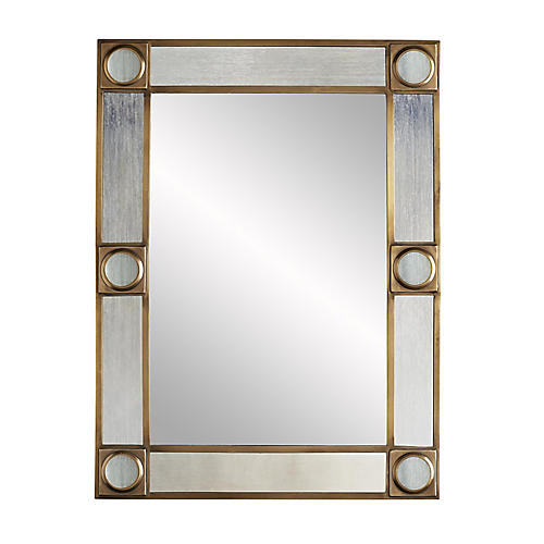 Baldwin Wall Mirror, Antiqued Brass