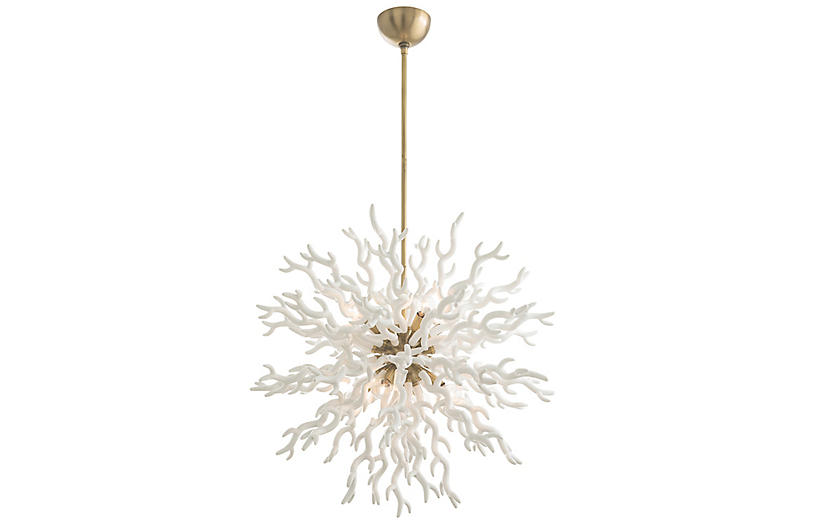 Diallo Chandelier, White Lacquer