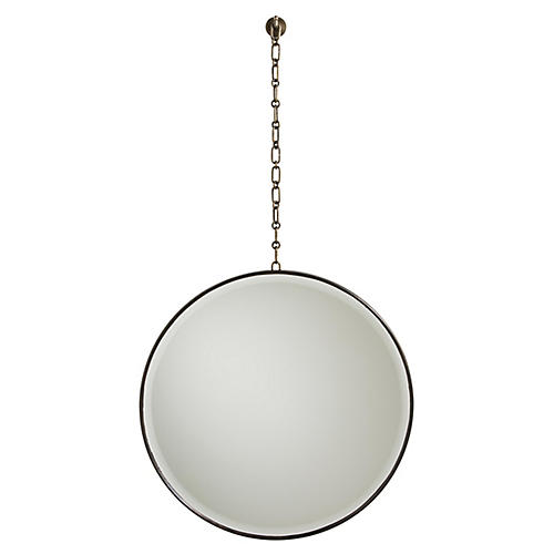 Fletcher Wall Mirror, Antiqued Brass