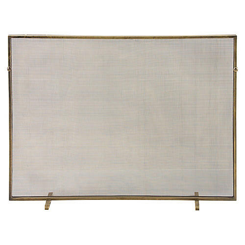 "40"" Gita Fireplace Screen, Gold"