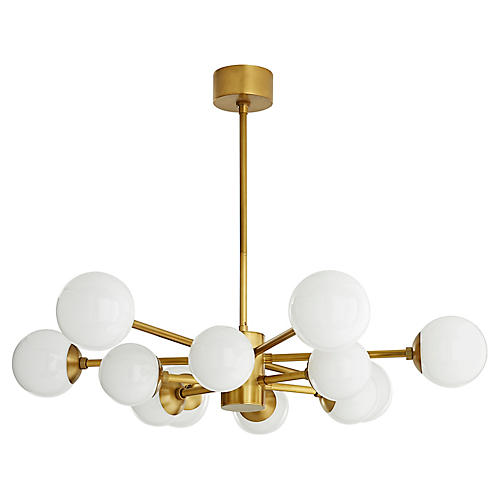 Karrington Chandelier, Antiqued Brass