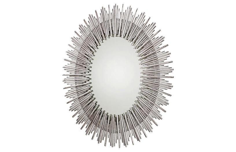 Prescott Wall Mirror, Antiqued Silver