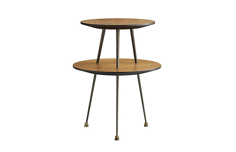 Jolie Accent Table, Walnut/Black