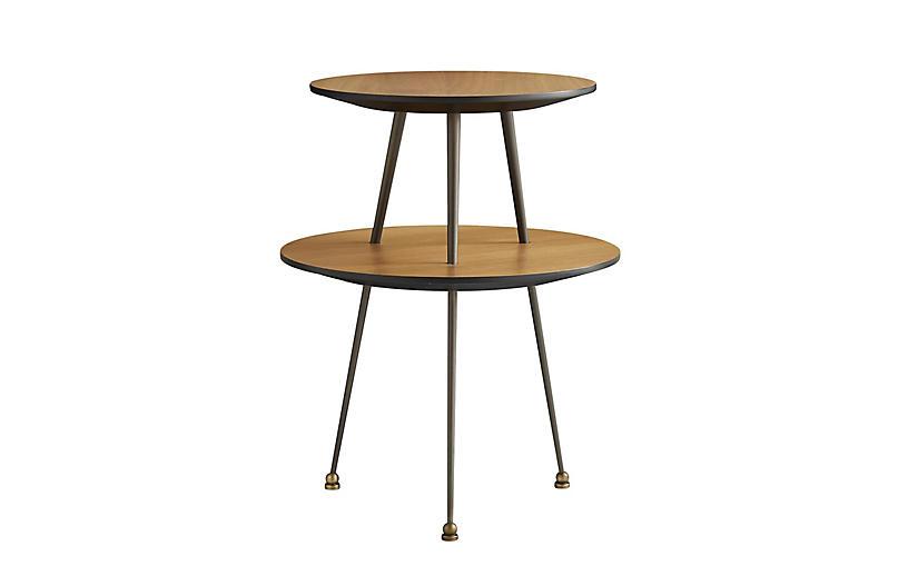 Jolie Accent Table, Walnut/Black