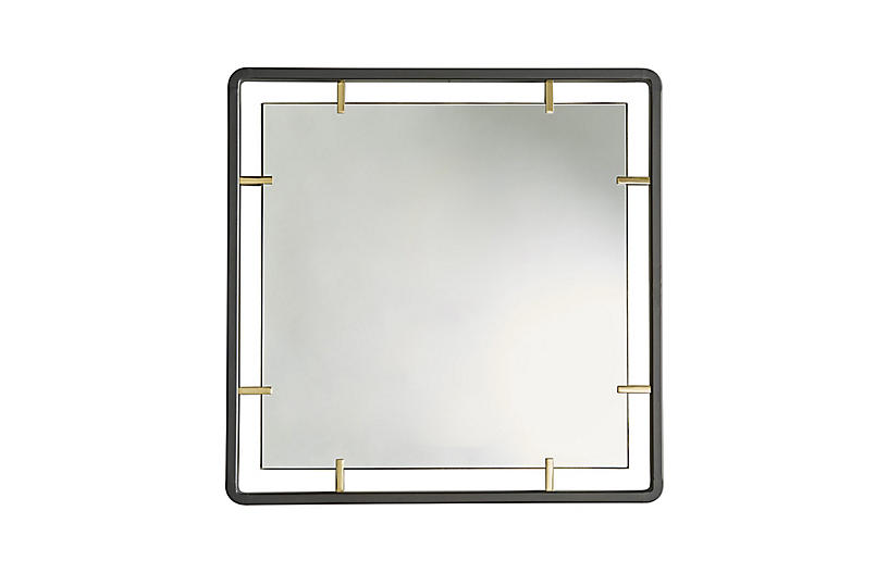 Janey Square Wall Mirror, Natural Iron