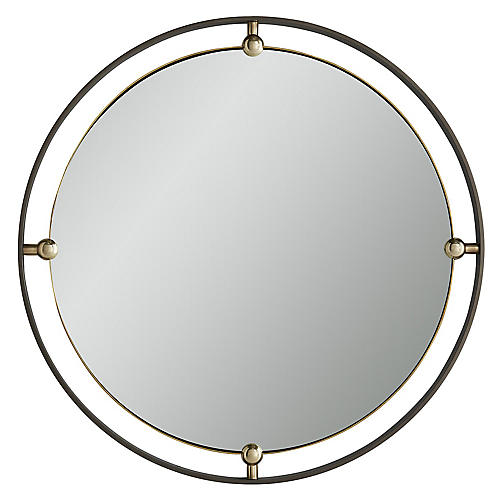 Janey Round Wall Mirror, Natural Iron