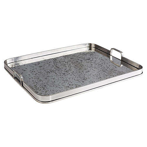 "23"" Lupita Rectangular Tray, Silver/Mirror"