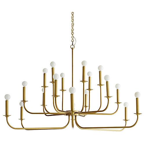 Breck Large Chandelier, Antiqued Brass