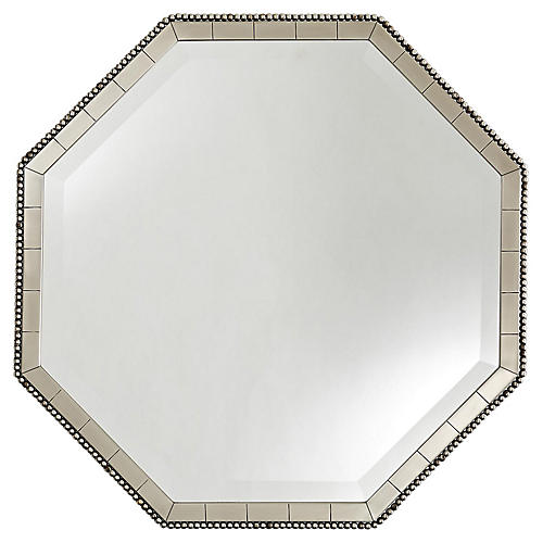 Nicole Wall Mirror, Antiqued Silver