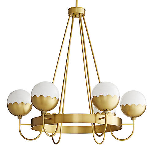 Cleo Chandelier, Antiqued Brass/Opal