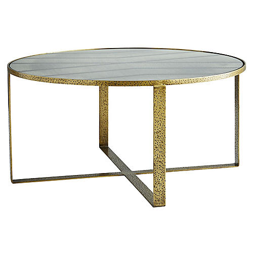 Nomad Coffee Table, Antiqued Brass