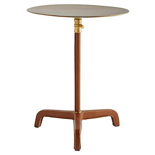 Addison Tall Side Table, Cognac Leather