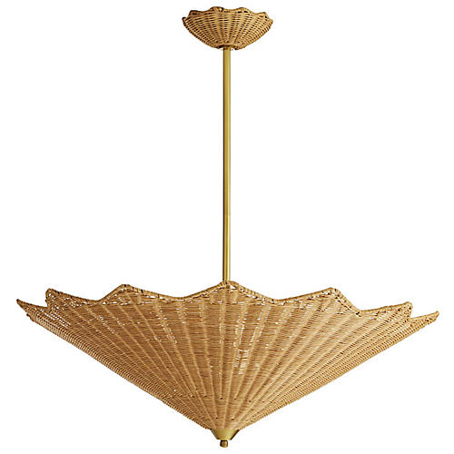 Parasol Pendant, Natural/Antiqued Brass