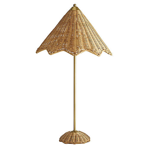 Parasol Table Lamp, Natural/Antiqued Brass