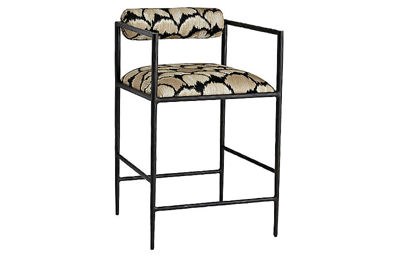 Barbana counter stool, Black/Gold