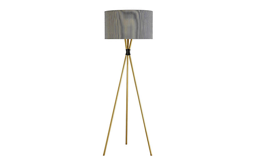 Quade Floor Lamp, Antiqued Brass