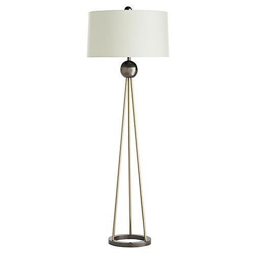 Hadley Floor Lamp, Pale Brass/Ivory