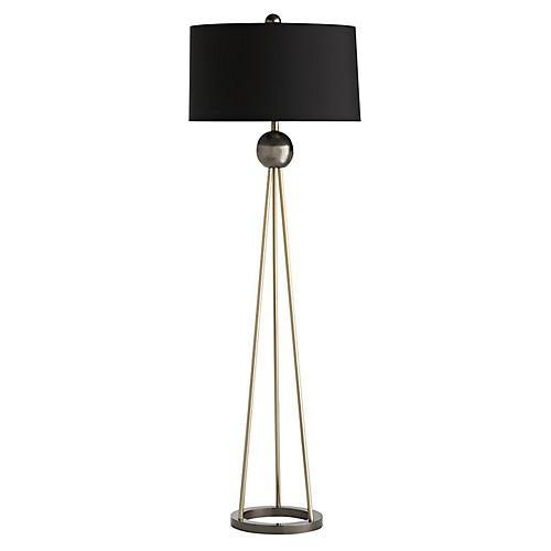 Hadley Floor Lamp, Pale Brass/Black