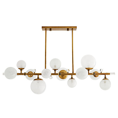 Troon Chandelier, Antiqued Brass