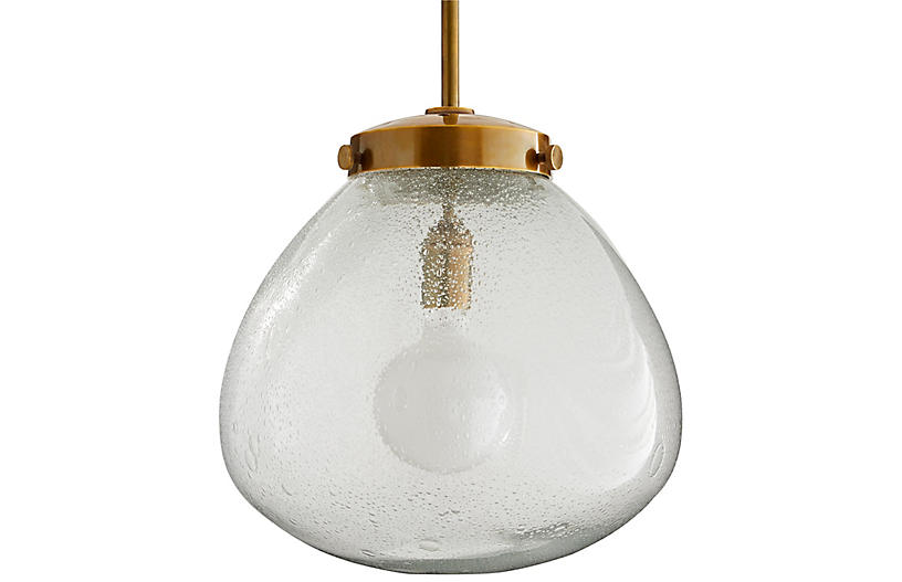 Welch Pendant, Antiqued Brass/Clear