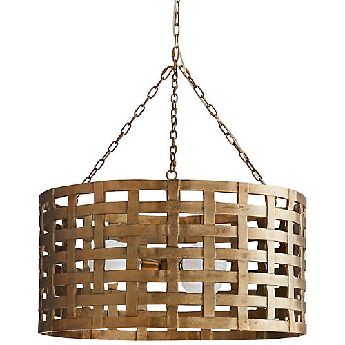 Ugo Chandelier, Antiqued Brass