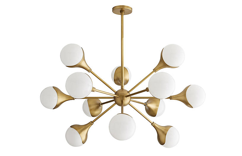Augustus Chandelier, Antiqued Brass