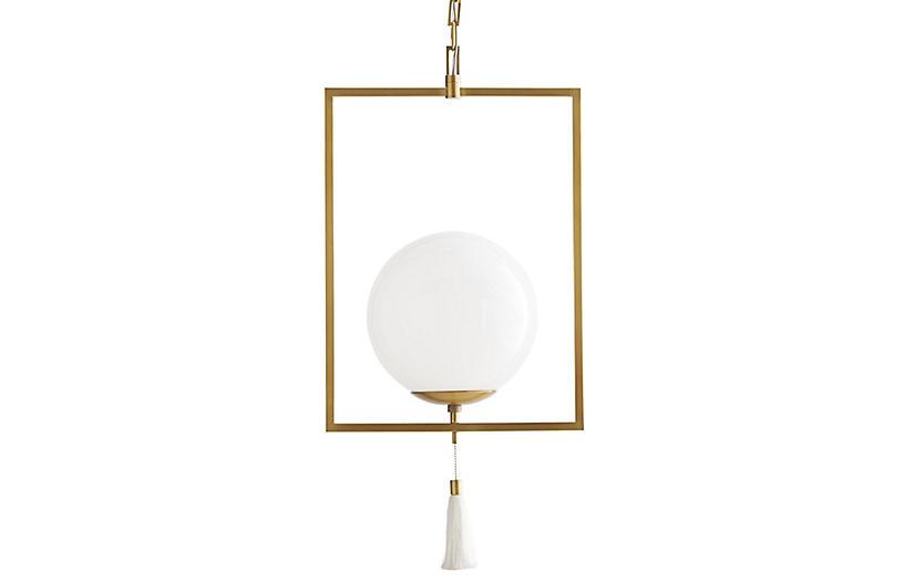 Trapeze Pendant, Antique Brass