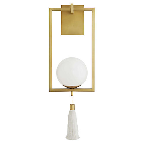 Trapeze Sconce, Antique Brass