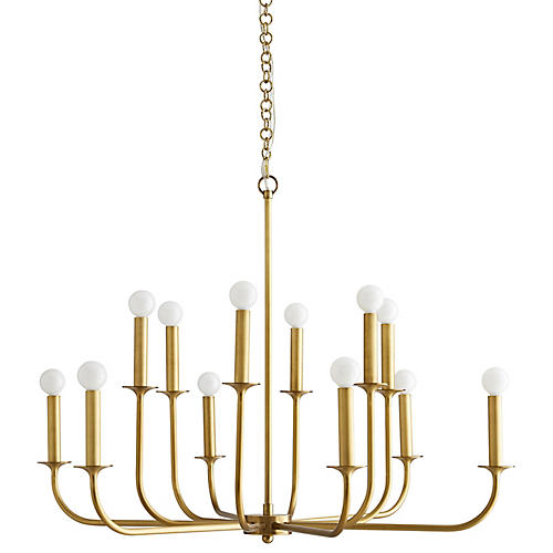 Breck Small Chandelier, Antiqued Brass