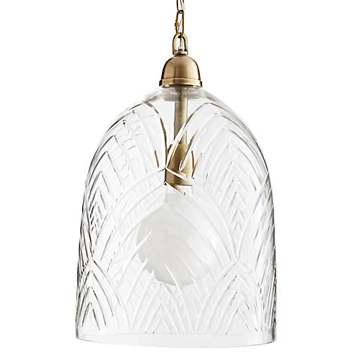 Chrissy Pendant, Clear Etched
