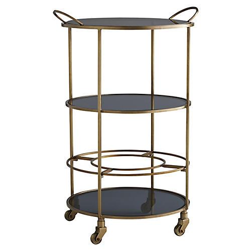 Crestwood Bar Cart, Vintage Brass
