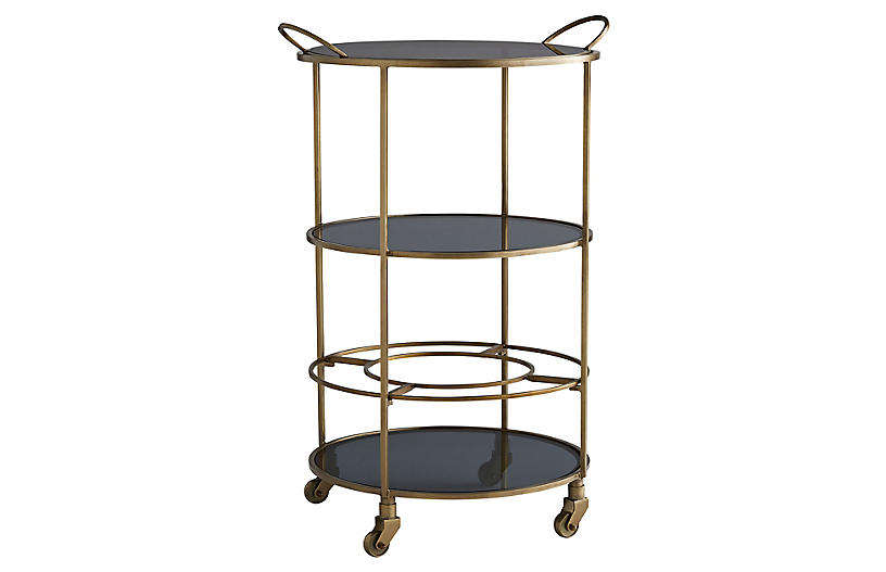 Crestwood Bar Cart, Vintage Brass
