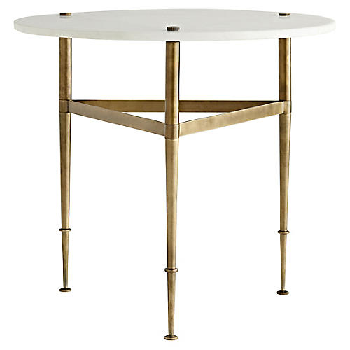 Brittney Side Table, White Marble