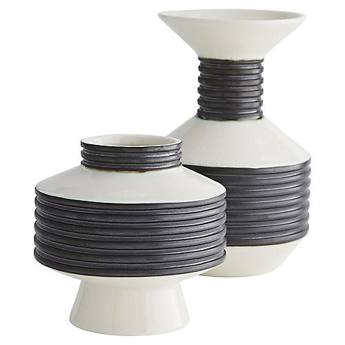 S/2 Alfredo Vases, Black