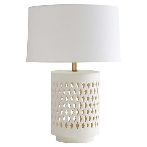 Treilliage Table Lamp, Matte Ivory